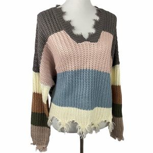 Oh La Luxe Miracle Fashion Color Block Sweater M/L